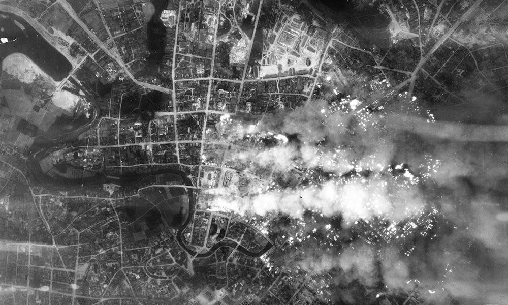 Аэрофотосъемка пожаров после налетов люфтваффе на Минск 24-25 июня 1941 года. Фото: waralbum.ru